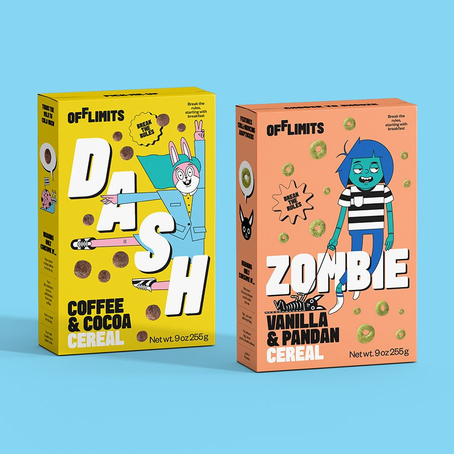 Dash and Zombie: modern cereal mascots?